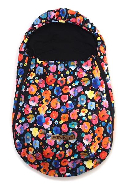 Pinkie Flowers Black  bundazsák 0-12 hónap