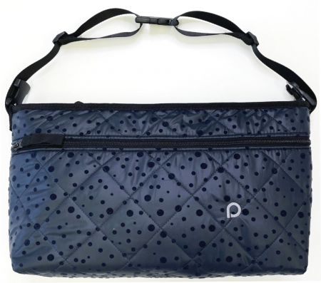 Dark Blue Dots rendező táska babakocsira elülső zsebbel - L