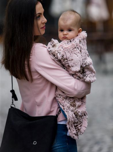 Összehúzható Fur Gold Pink takaró